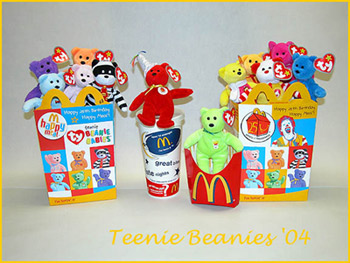 c75e2509f42 2004 McDonald s Teenie Beanie Babies - 25th Anniversary of the Happy ...