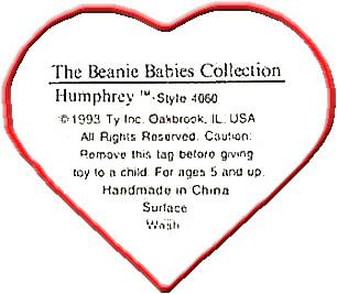 6cd5cc0f34c Ty Beanie Baby Babies Swing Heart Hang Tags