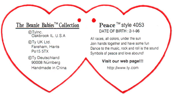 picture regarding Beanie Baby Checklist Printable named Ty Beanie Child Infants Swing Centre Cling Tags