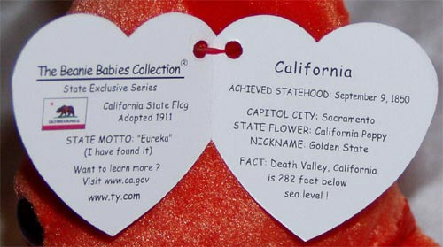 california flag beanie. California the Bear Ty Beanie Baby